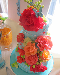 teal tea party birdcage themed cake