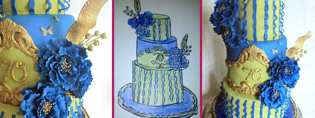 70th anniversary cake with royal blue sugar flowers and gold feathers
