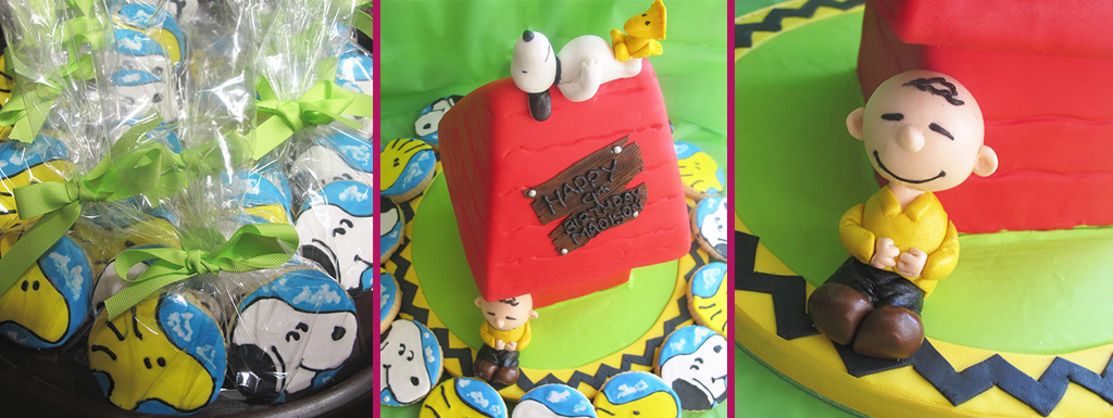 Charlie Brown Cake with Snoopy's House and Sugar Cookies to match