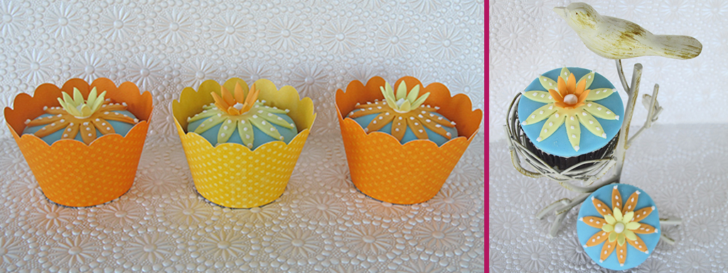 Orange and Yellow Daisy Cupcakes