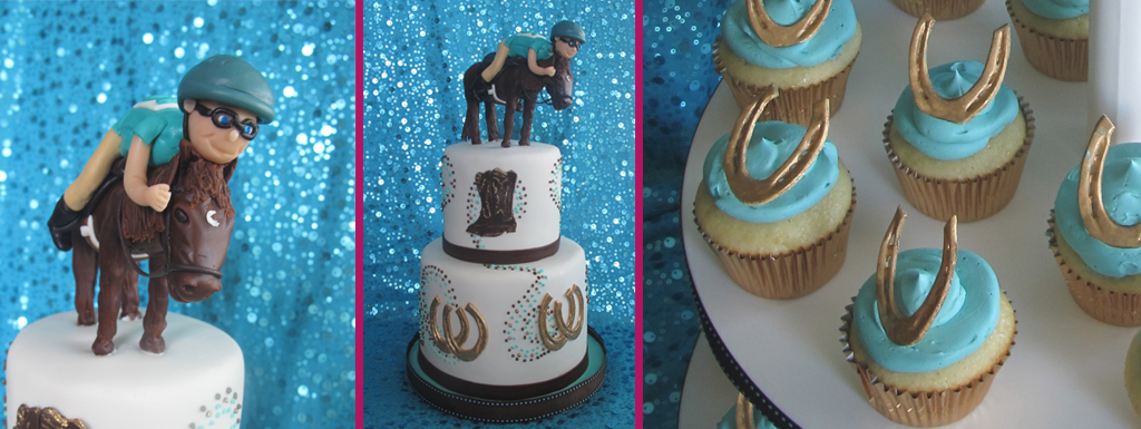 Equestiran themed 16th Birthday cake and cupcakes with gold horseshoes