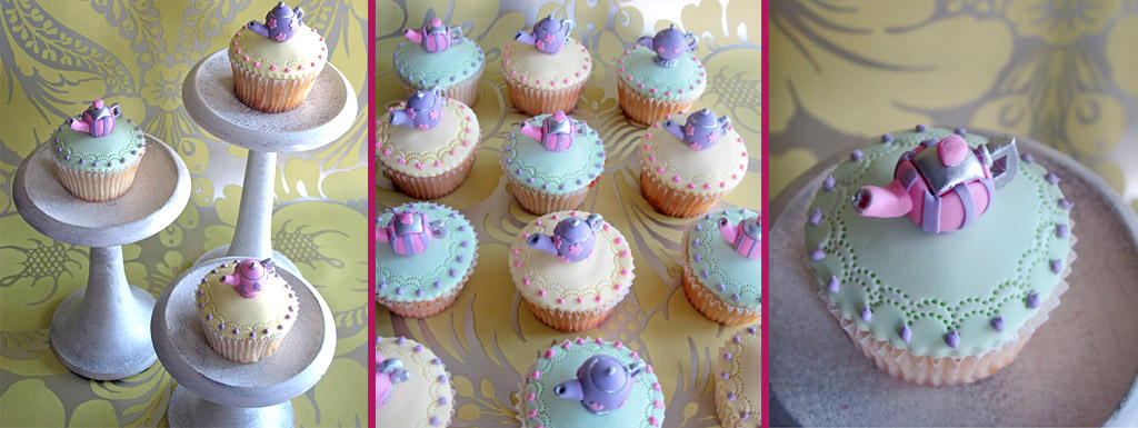 Fondant covered cupcakes with individual teapots on the top
