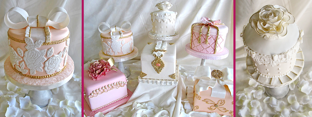Vintage designed cakes in pale pinks, peaches and creams for wedding bells magazine